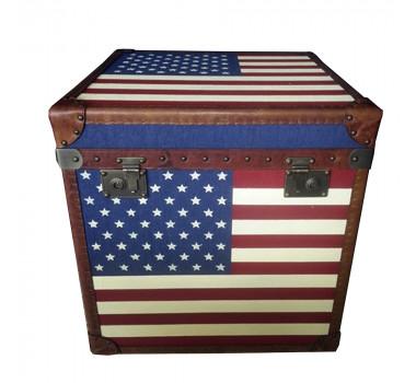 Baú em Madeira Bandeira Americana 62x60x68 cm