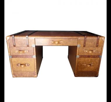 Escrivaninha em Madeira com Detalhes em Couro 5 Gavetas - 80x84x160cm