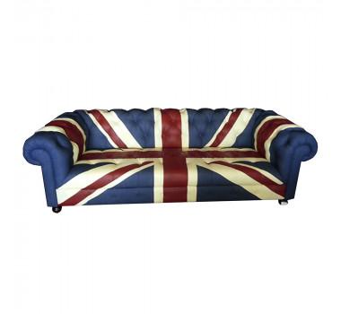 Sofá Estofado Capitonê Bandeira Inglaterra 76x102x235 cm