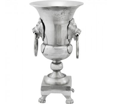 Vaso de Alumínio Prata com Adornos de Leão Sif