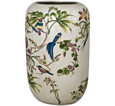 Vaso De Porcelana Com Pintura Decorativa Coari - 36X21X17CM