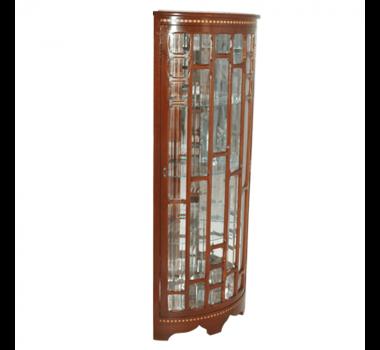 Cristaleira de Canto em Madeira Vitoriana com Interior Espelhado - 156x60x40cm