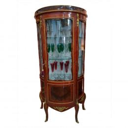 Cristaleira Marchetada Luis XV com Apliques em Bronze - 180x50x90cm