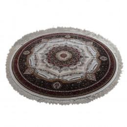 Tapete Persa Redondo Vermelho com Detalhes Branco - 150x150cm
