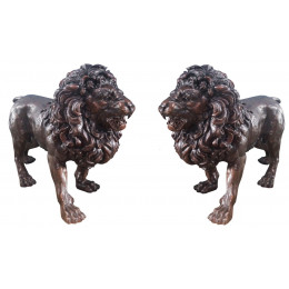 Par de Esculturas Leões em Bronze