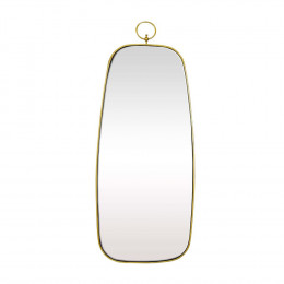 Espelho Retangular com Moldura em Metal Dourado - 82X34cm