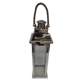 Lanterna Decorativa em Vidro e Alumínio 65 cm x 16 cm