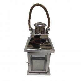 Lanterna Decorativa em Vidro e Alumínio 43 cm x 15 cm