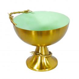 Vaso Decorativo Dourado e Verde em Metal - 24x25x23cm
