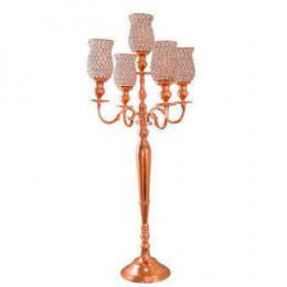 Candelabro com Pedestal Rose Gold  5 velas - 114x49x49cm