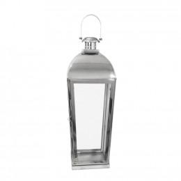 Lanterna Decorativa em Metal Prateado - 73x23cm