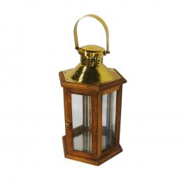 Lanterna em Madeira e Metal - 60x17cm