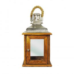 Lanterna em Madeira e Alumínio - 50x25cm