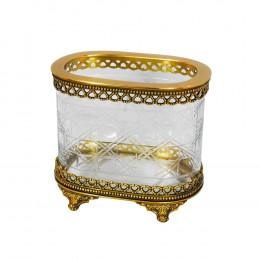 Vaso Decorativo em Metal e Vidro - 19x22x14cm