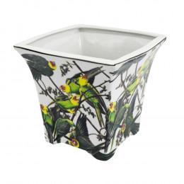 Vaso em Cerâmica de Papagaios - 18x19cm