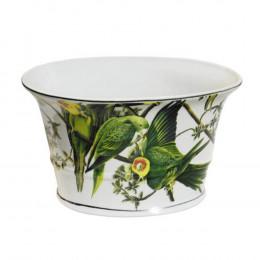 Cachepot em Cerâmica Pássaros Verde - 15x26x18cm