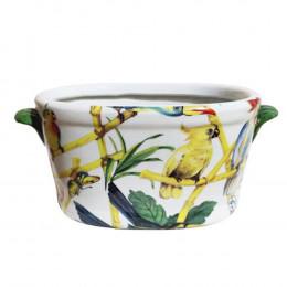 Cachepot em Cerâmica Pássaros e Borboletas - 16x35x19cm