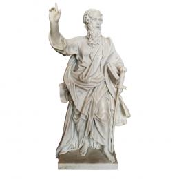 Escultura Ancião em Mármore Branco - 63x29x19cm