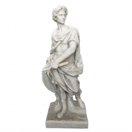 Escultura Guerreiro em Mármore Branco - 63x25x10cm
