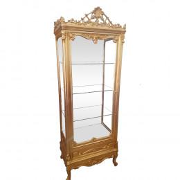 Cristaleira Luis XV Dourada com Espelho - 79x33x53cm