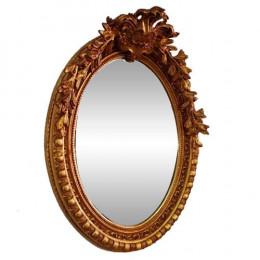 Espelho Clássico Oval Folheado a Ouro com Detalhes na Moldura - 105x80cm