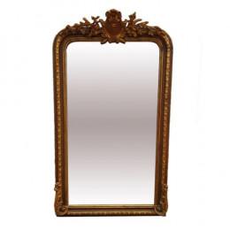 Espelho Clássico Folheado a Ouro com Detalhes na Moldura de Chão - 226x134cm