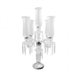Candelabro em Cristal com 5 Velas - 74x35cm