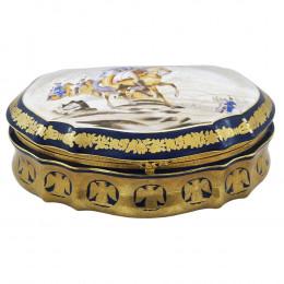 Caixa em Porcelana Azul Escuro - 12x33x22cm