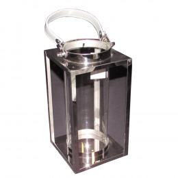 Lanterna Decorativa em Vidro e Alumínio 27 cm x 14 cm