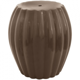 Garden Seat em Cerâmica Marrom com Detalhes em Relevo - 47x44cm
