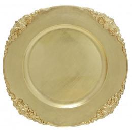 Sousplat Produzido em Resina na Cor Dourada - 2x35cm