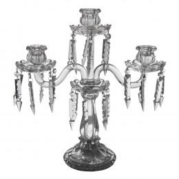 Candelabro Em Cristal 3 Velas - 43x40x14cm