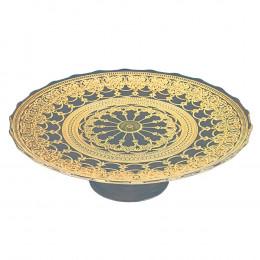 Prato de Bolo Incolor com Ouro com Pé - 32cm