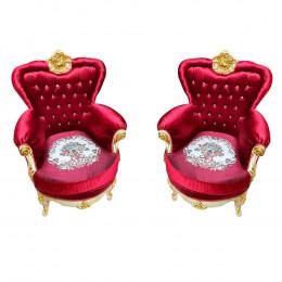 Par de Poltrona Luis XV Folheada a Ouro em Captone Vinho com Detalhes