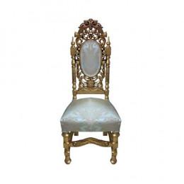Cadeira Bege com Detalhes Dourado -  123x48x56cm