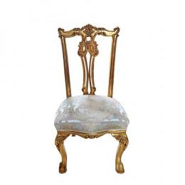 Cadeira Bege com Detalhes Dourado - 111x55x54cm