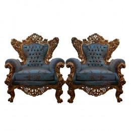 Par de Poltronas Azul Tiffany - 109x103x56cm
