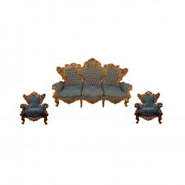 Jogo de Sofá + 2 Poltronas Estofado Azul Tiffany - 136x223x67 - 109x103x56cm