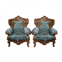 Par de Poltronas Azul Tiffany -126x92x62cm