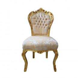 Cadeira Clássica Bege com Dourado - 108x56x51cm