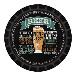Tábua Redonda Cerveja em Vidro - 20cm
