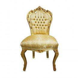 Cadeira com Capitonê Estofado Dourado - 108x56x51cm