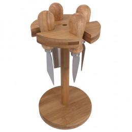 Jogo de 4 Facas para Queijo com Suporte em Bambu