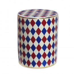 Garden Seat em Ceramica Creme/Azul/Vinho - 45x35cm