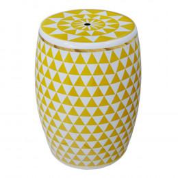 Garden Seat Amarelo E Branco Em Cerâmica - 44x34cm