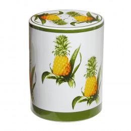 Garden Seat em Cerâmica Branco/Abacaxi - 45x35cm