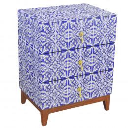 Mesa de Cabeceira em Madeira com Revestimento em Vidro Azul - 69x53x40cm