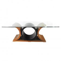 Mesa em Madeira Moderna Marrom/Preta Tampo em Vidro
