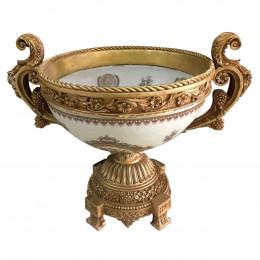 Vaso Decorativo em Cerâmica com Detalhes Dourado