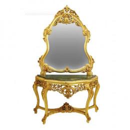 Aparador Esculpido à Mão Dourado Espelho Luis XV - 144x241x53cm